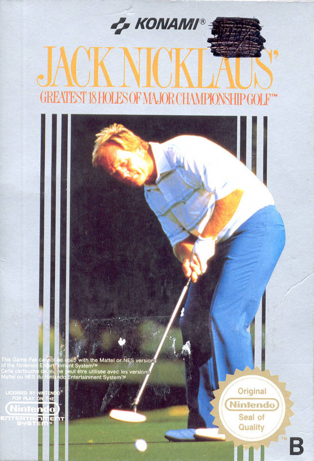 Front boxart of the game Jack Nicklaus' Greatest 18 Holes of Major Championship Golf (Europe) on Nintendo NES