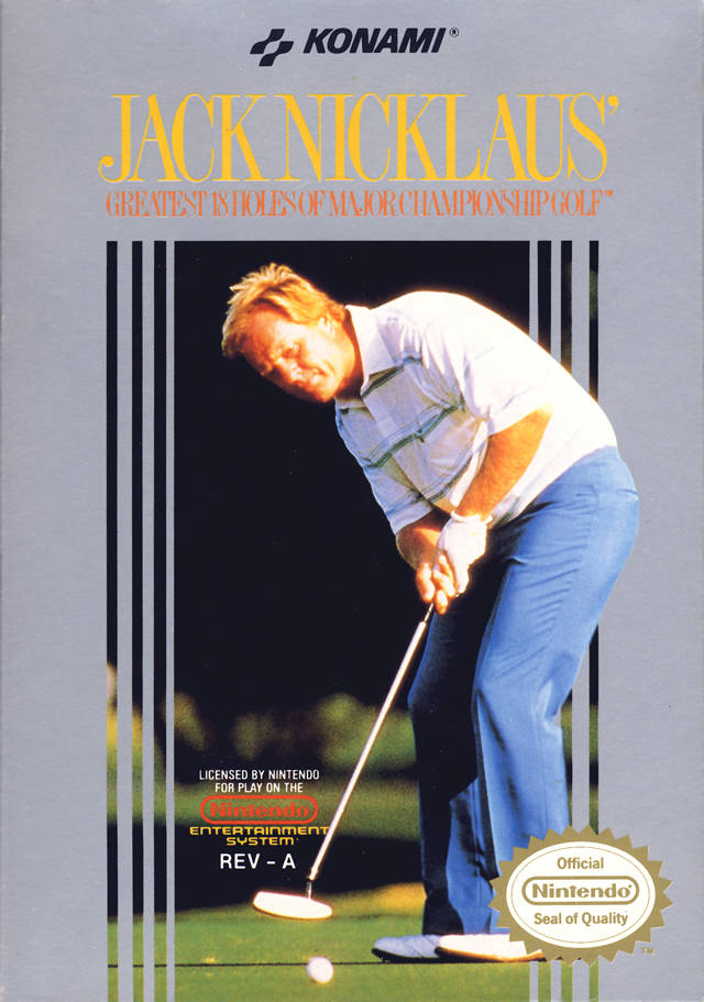 Front boxart of the game Jack Nicklaus' Greatest 18 Holes of Major Championship Golf (United States) on Nintendo NES
