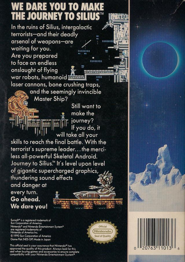 Back boxart of the game Journey to Silius (United States) on Nintendo NES