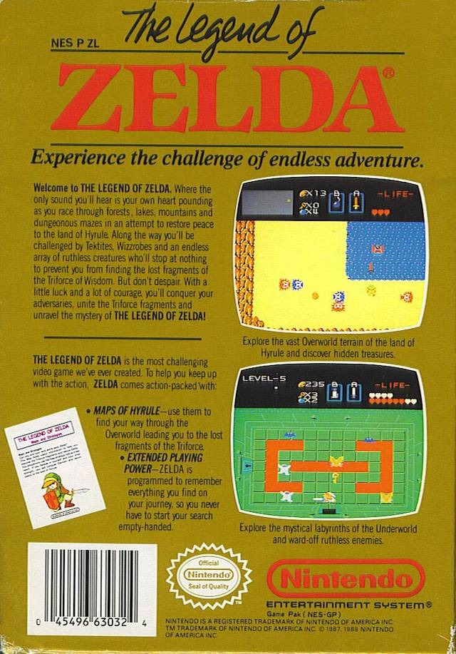 Back boxart of the game Legend of Zelda, The (United States) on Nintendo NES