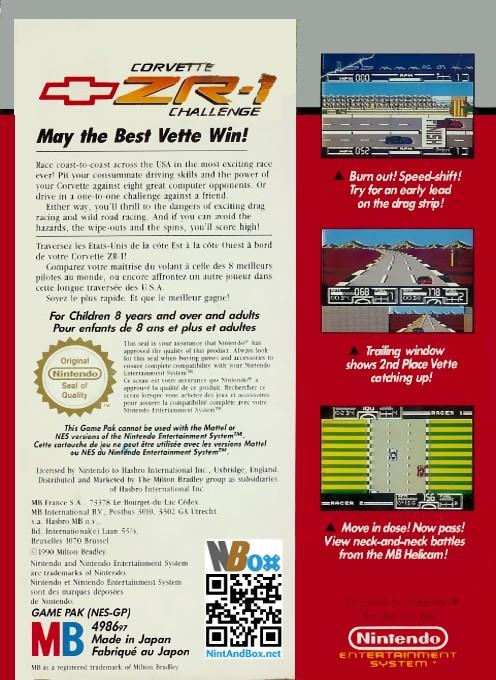Back boxart of the game Race America (Europe) on Nintendo NES