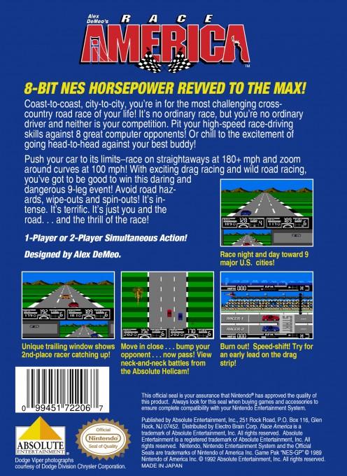 Back boxart of the game Race America (United States) on Nintendo NES