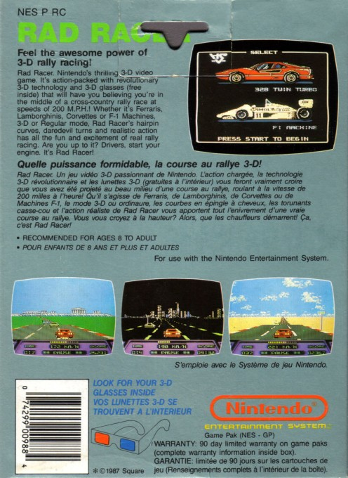 Back boxart of the game Rad Racer (Canada) on Nintendo NES