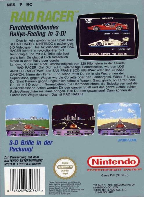 Back boxart of the game Rad Racer (Germany) on Nintendo NES