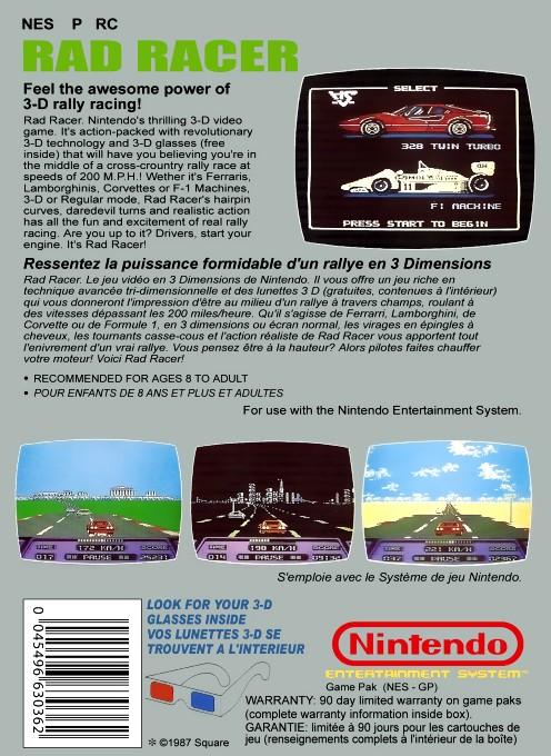 Back boxart of the game Rad Racer (France) on Nintendo NES