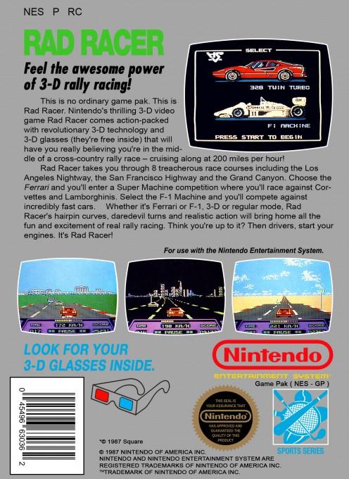 Back boxart of the game Rad Racer (United States) on Nintendo NES
