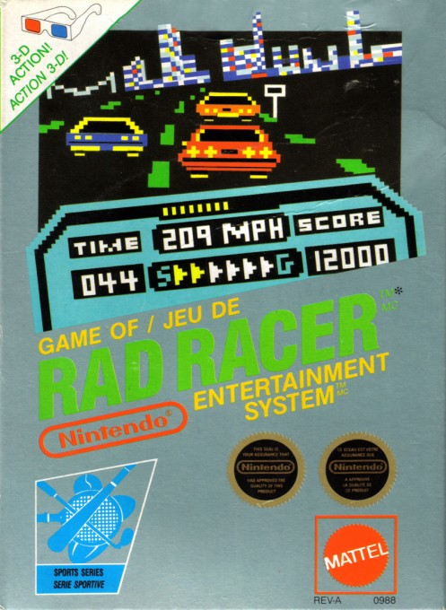 Front boxart of the game Rad Racer (Canada) on Nintendo NES