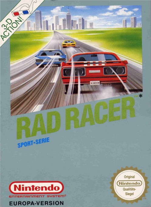 Front boxart of the game Rad Racer (Germany) on Nintendo NES
