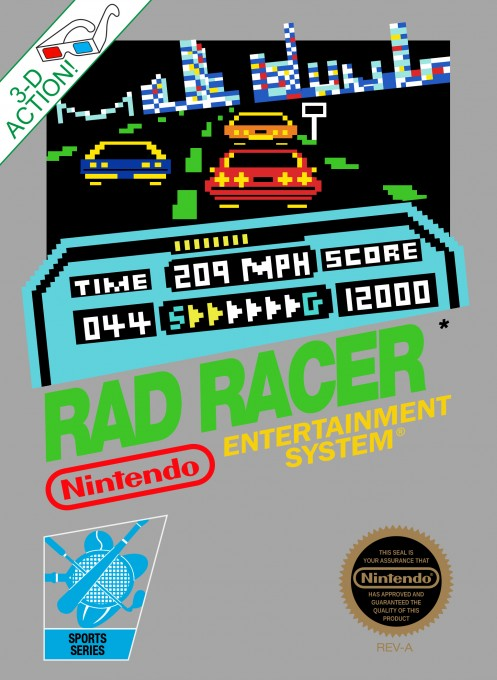 Front boxart of the game Rad Racer (United States) on Nintendo NES