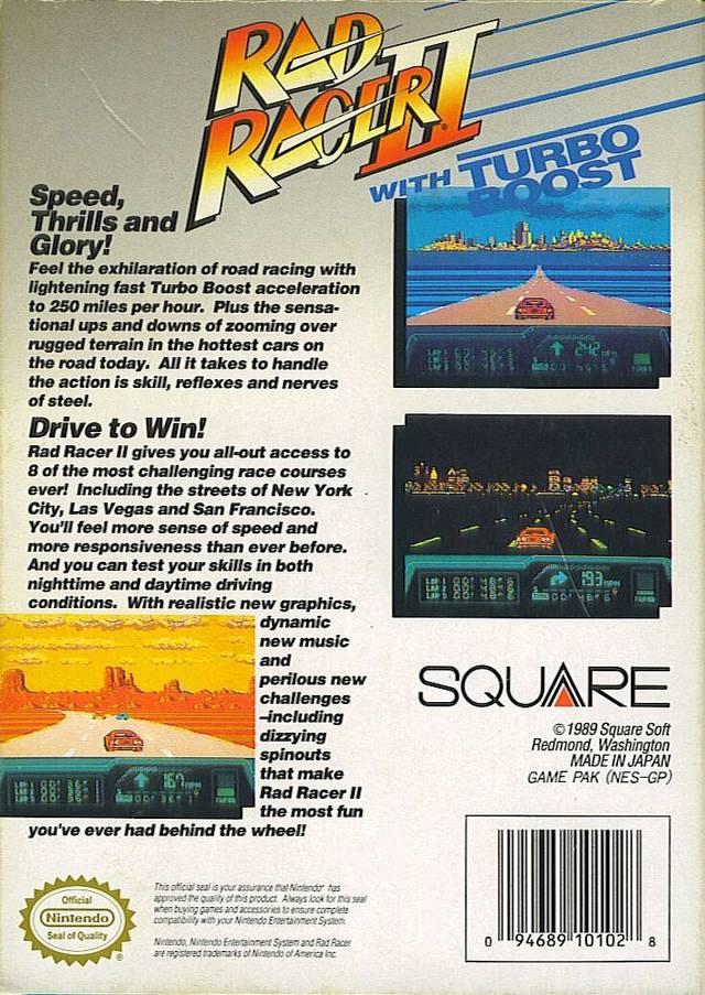 Back boxart of the game Rad Racer 2 (United States) on Nintendo NES
