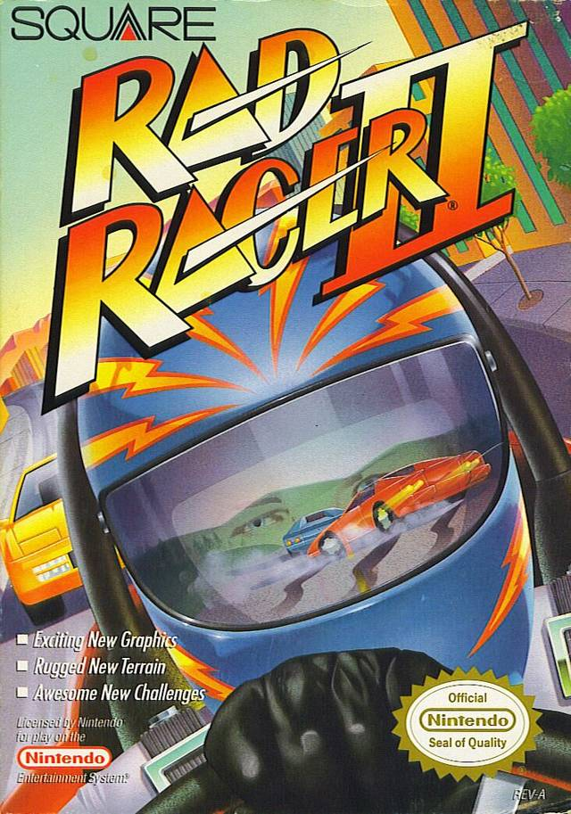 Front boxart of the game Rad Racer 2 (United States) on Nintendo NES