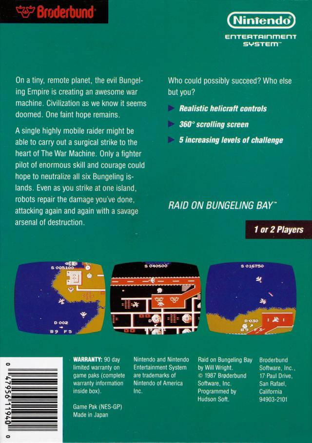 Back boxart of the game Raid on Bungeling Bay (United States) on Nintendo NES