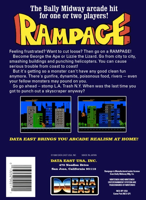 Back boxart of the game Rampage (United States) on Nintendo NES