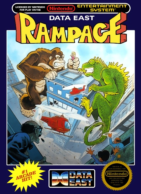 Front boxart of the game Rampage (United States) on Nintendo NES