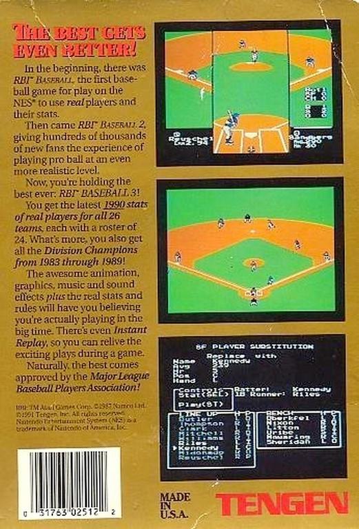 Back boxart of the game R.B.I. Baseball 3 (United States) on Nintendo NES