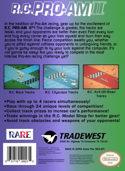 Back boxart of the game R.C. Pro-Am II (United States) on Nintendo NES