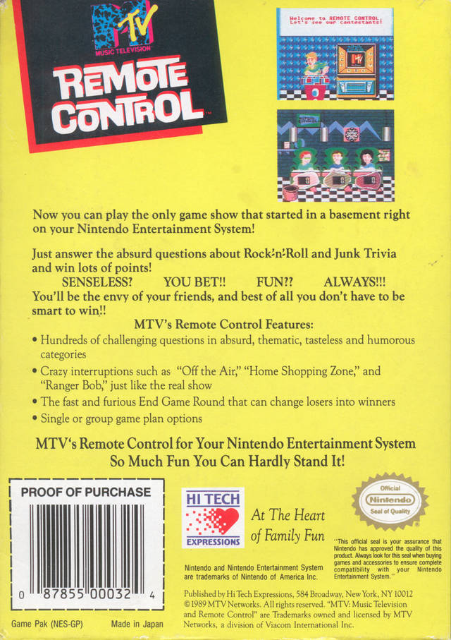 Back boxart of the game Remote Control (United States) on Nintendo NES
