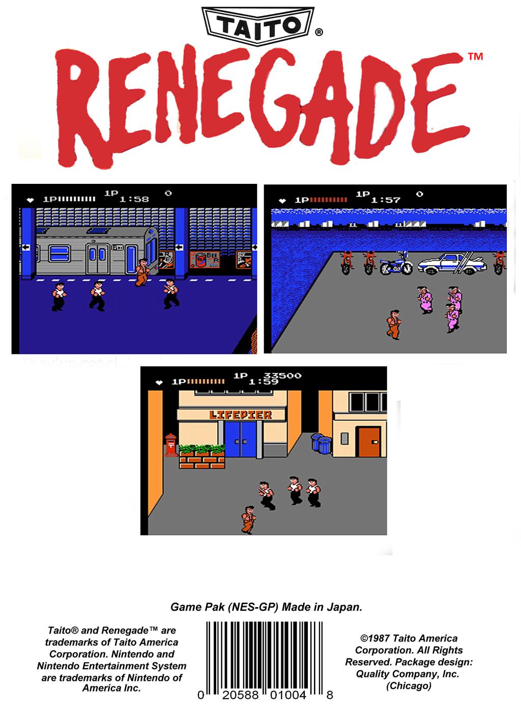Back boxart of the game Renegade (United States) on Nintendo NES