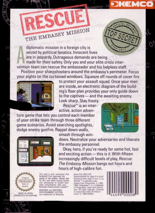 Back boxart of the game Rescue - The Embassy Mission (Europe) on Nintendo NES