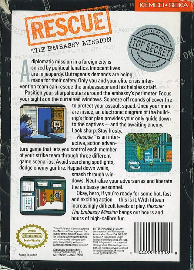 Back boxart of the game Rescue - The Embassy Mission (United States) on Nintendo NES