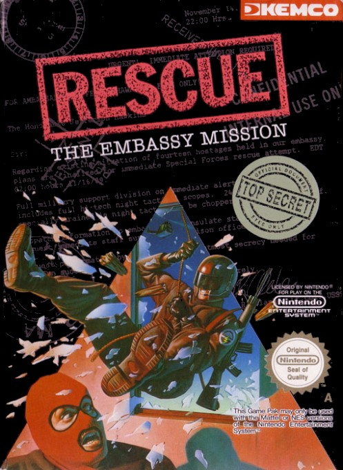 Front boxart of the game Rescue - The Embassy Mission (Europe) on Nintendo NES