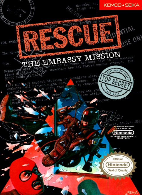 Front boxart of the game Rescue - The Embassy Mission (United States) on Nintendo NES