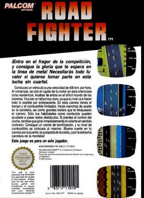 Back boxart of the game Road Fighter (Europe) on Nintendo NES