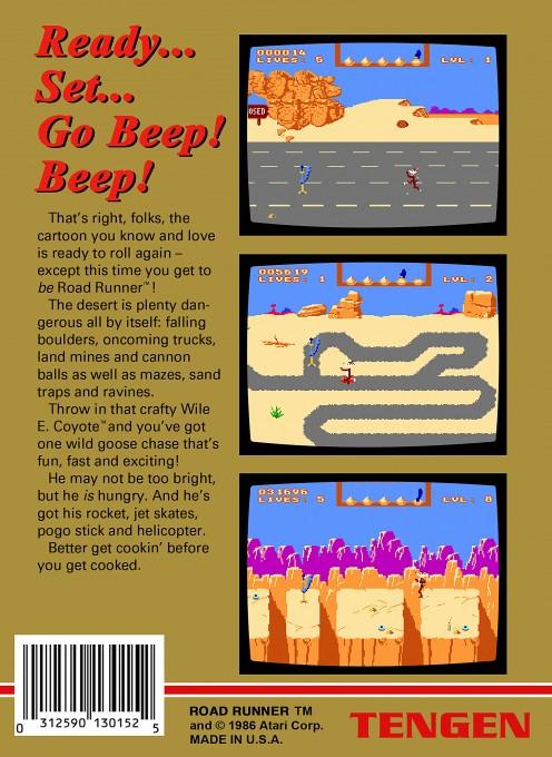 Back boxart of the game Road Runner (United States) on Nintendo NES