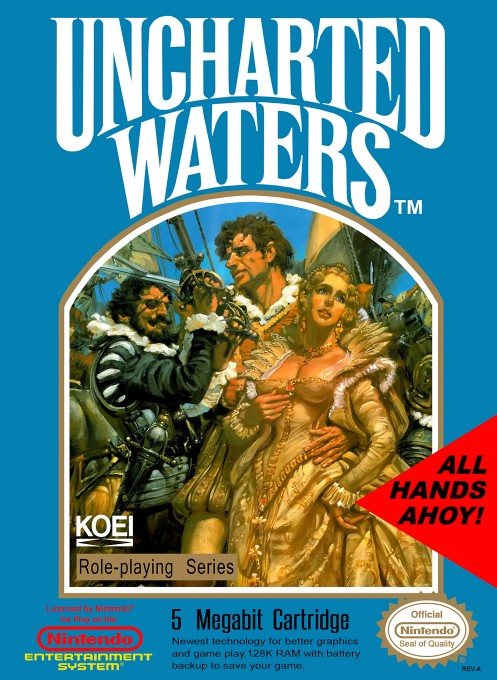 Front boxart of the game Uncharted Waters (United States) on Nintendo NES