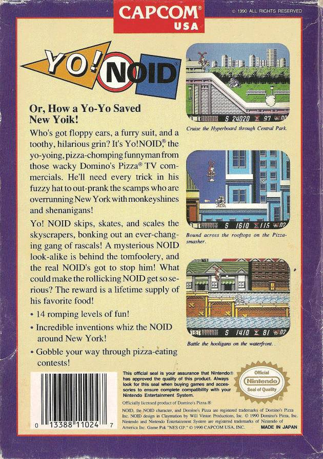 Back boxart of the game Yo! Noid (United States) on Nintendo NES