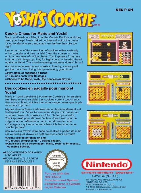 Back boxart of the game Yoshi's Cookie (Europe) on Nintendo NES