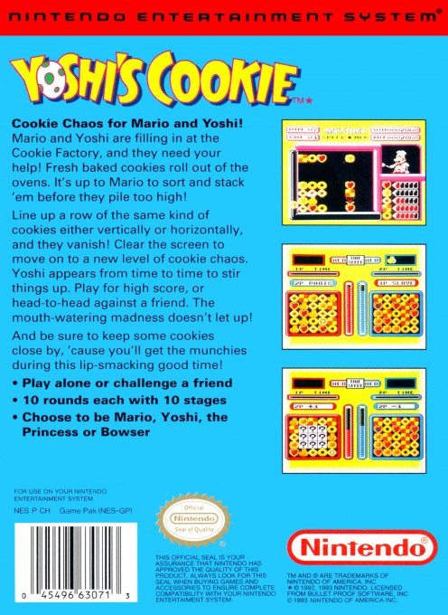 Back boxart of the game Yoshi's Cookie (United States) on Nintendo NES