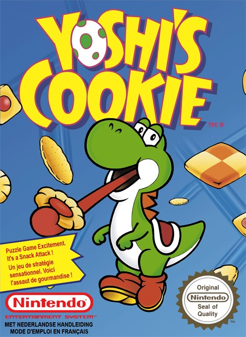Front boxart of the game Yoshi's Cookie (Europe) on Nintendo NES