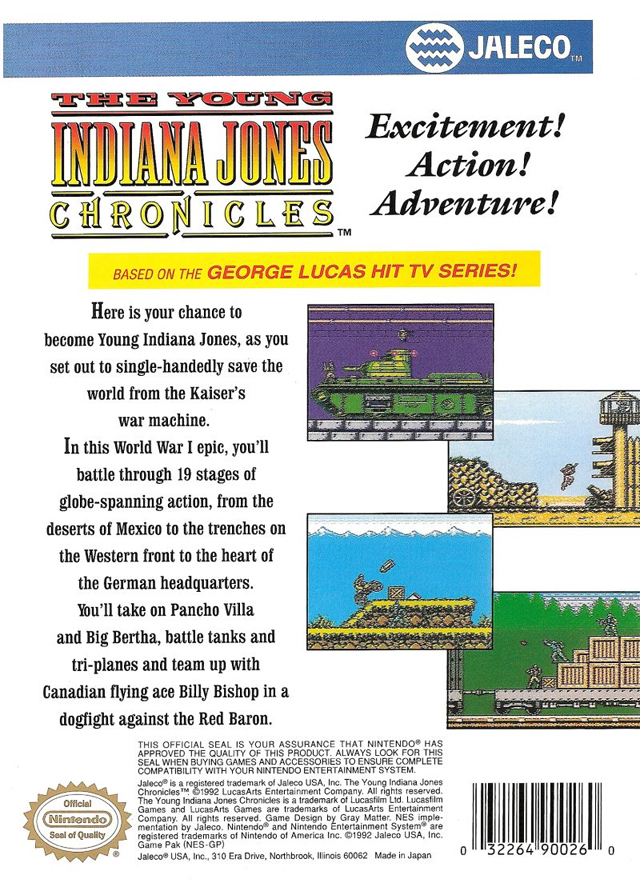 Back boxart of the game Young Indiana Jones Chronicles, The (United States) on Nintendo NES