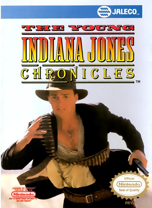 Front boxart of the game Young Indiana Jones Chronicles, The (United States) on Nintendo NES