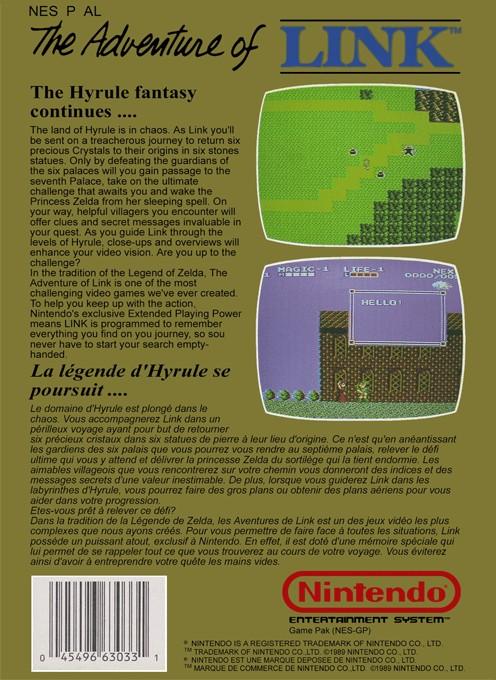 Back boxart of the game Zelda II - The Adventure of Link (Europe) on Nintendo NES