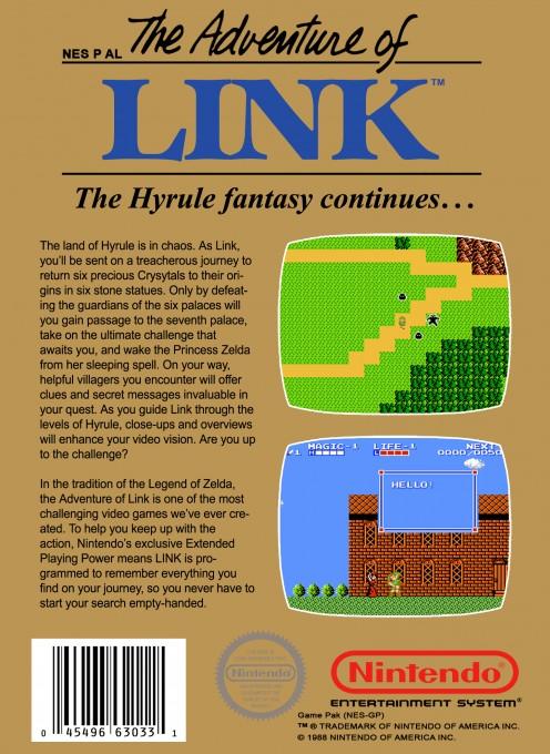 Back boxart of the game Zelda II - The Adventure of Link (United States) on Nintendo NES
