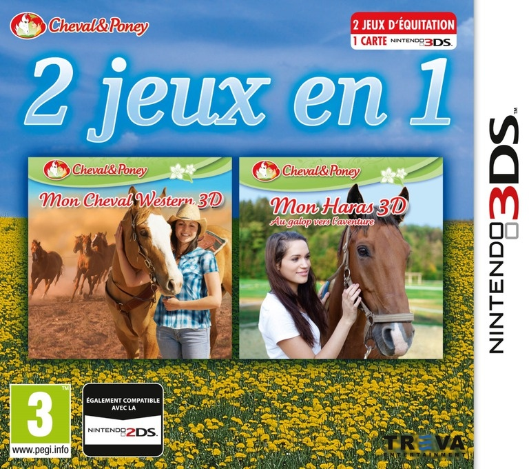 Front boxart of the game 2 in 1- Horses 3D Vol.3 - My Riding Stables 3D - Jumping for the Team and My Western Horse 3D (Europe) on Nintendo 3DS