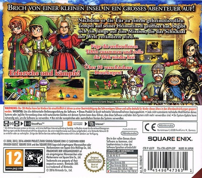 Back boxart of the game Dragon Quest VII - Fragments of the Forgotten Past (Germany) on Nintendo 3DS