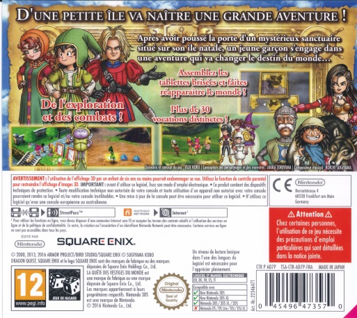 Back boxart of the game Dragon Quest VII - Fragments of the Forgotten Past (France) on Nintendo 3DS