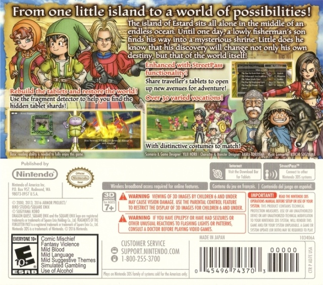 Back boxart of the game Dragon Quest VII - Fragments of the Forgotten Past (United States) on Nintendo 3DS