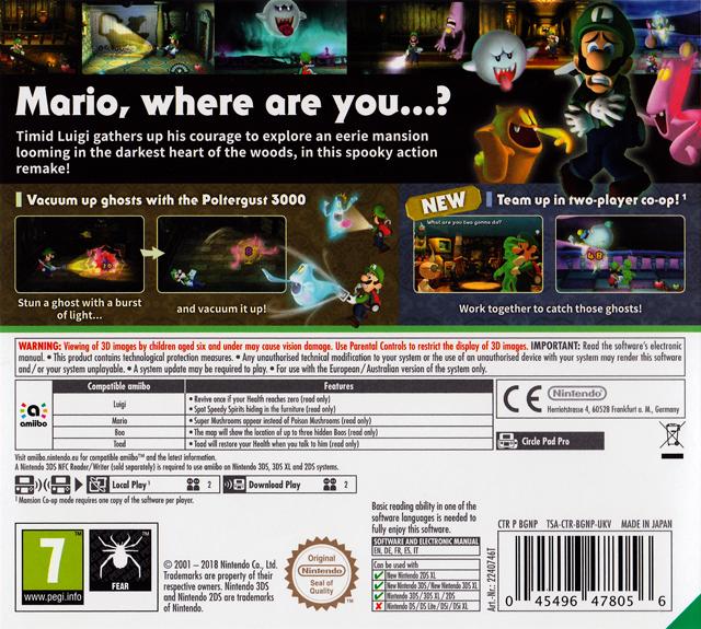 Back boxart of the game Luigi's Mansion (Europe) on Nintendo 3DS