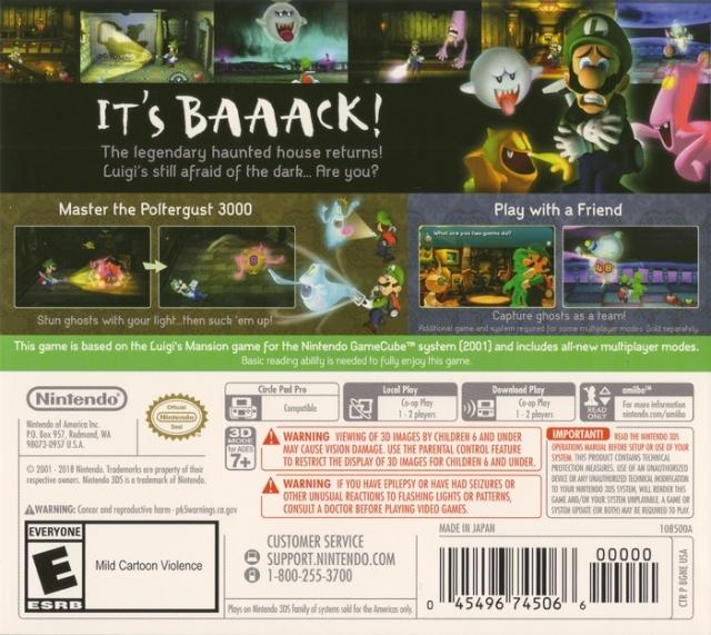 Back boxart of the game Luigi's Mansion (United States) on Nintendo 3DS