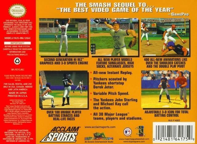 Back boxart of the game All-Star Baseball 2000 (United States) on Nintendo 64