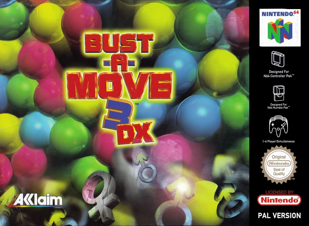 Front boxart of the game Bust-A-Move 3 DX (Europe) on Nintendo 64