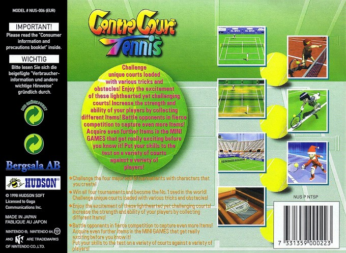 Back boxart of the game Centre Court Tennis (Europe) on Nintendo 64