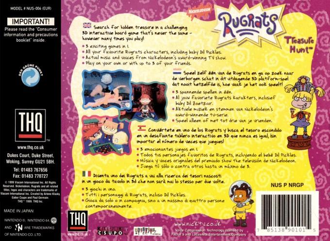 Back boxart of the game Rugrats - Treasure Hunt (Europe) on Nintendo 64
