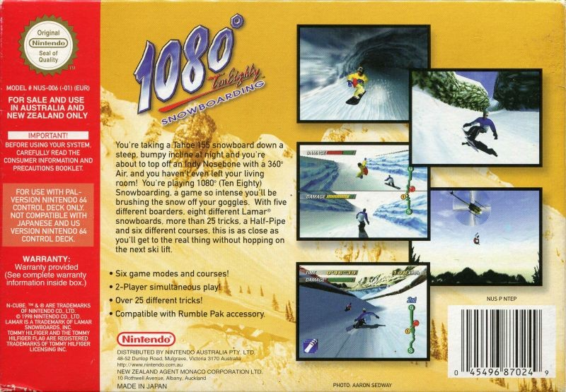 Back boxart of the game 1080 Snowboarding (Australia) on Nintendo 64