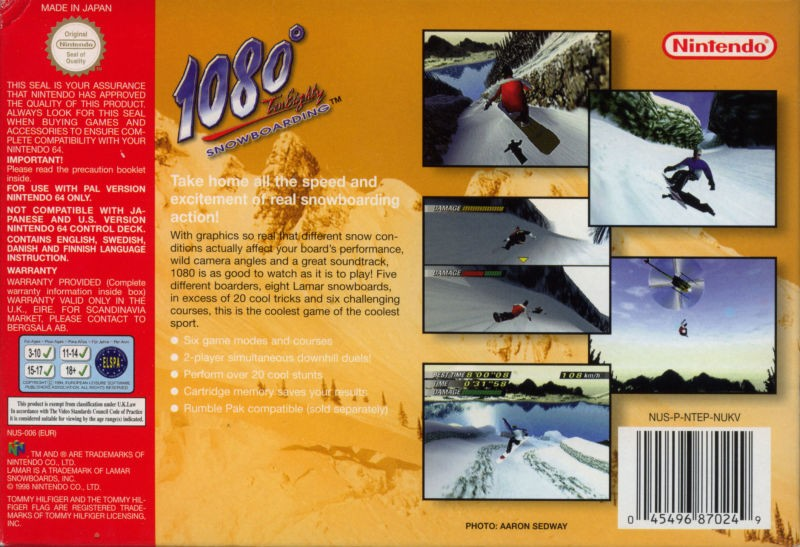 Back boxart of the game 1080 Snowboarding (Europe) on Nintendo 64
