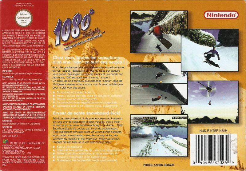 Back boxart of the game 1080 Snowboarding (France) on Nintendo 64